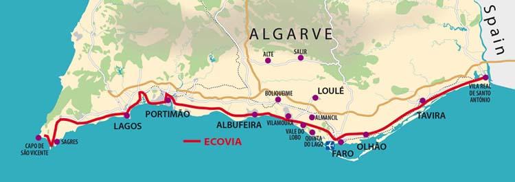 Walks In Portugal Ecovia - Portugal hiking map