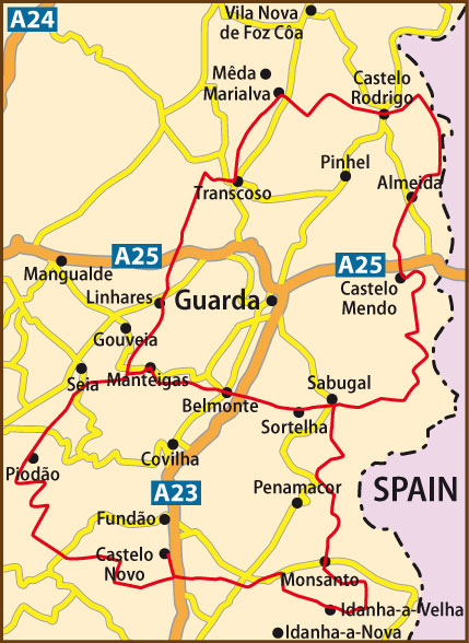 WIPortugal GR Historical Villages - Portugal map distances