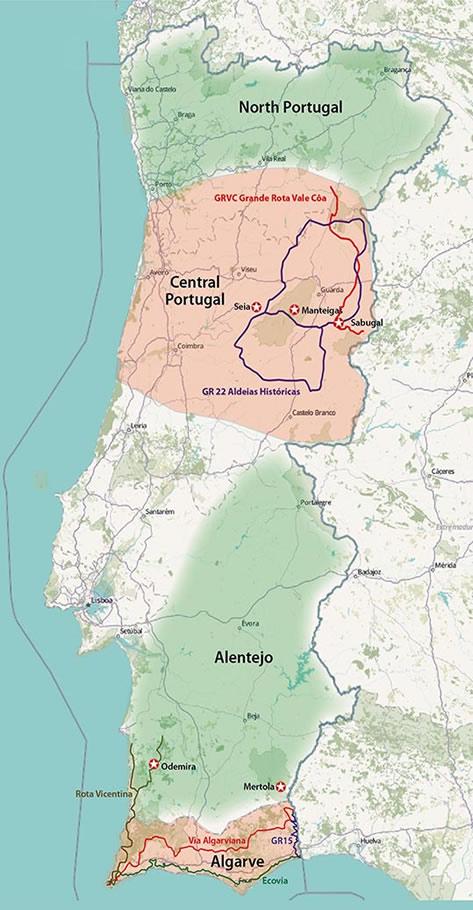 Walks In Portugal - Portugal hiking map
