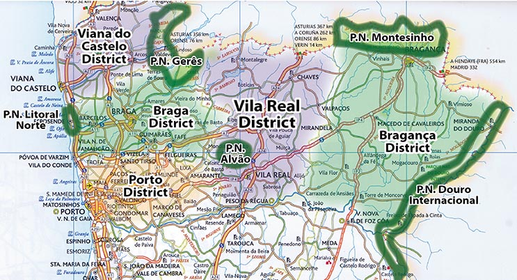 North Portugal Day Hikes - Portugal hiking map