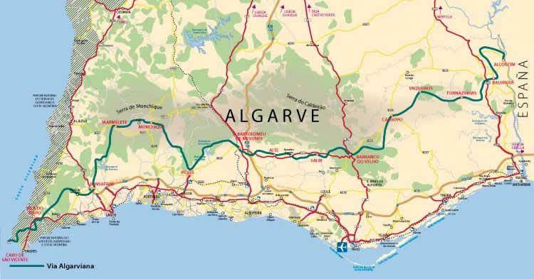 Walks In Portugal Via Algarviana - Portugal hiking map